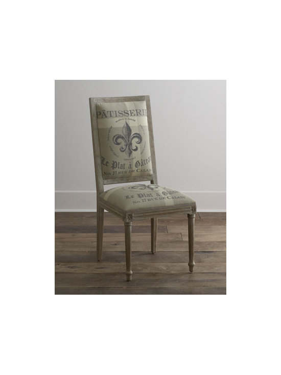 """Horchow - Fleur-De-Lis Side Chair - Create a cosmopolitan atmosphere for dining with a """"French"""" dining chair. Oak frame. Flax upholstery on the back and burlap upholstery on the seat. 20""""W x 19""""D x 42""""T. Imported. Boxed weight, approximately 34 lbs. Please note that this item may...."""