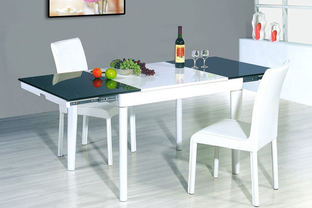 Extendable round wood and frosted glass top leather modern dining set