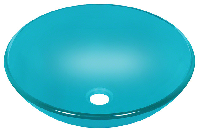 Turquoise Colored Glass Vessel Sink - Traditional - Bathroom Sinks ...