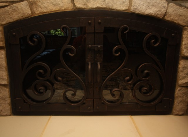 Forged Iron Fireplace Screen : Hand forged iron fire screen indoor fireplaces