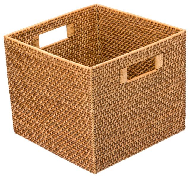 Square Rattan Utility Basket Contemporary Baskets