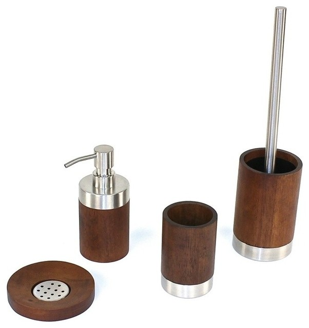 Erica walnut wood bathroom accessory set contemporary for Wooden bathroom accessories
