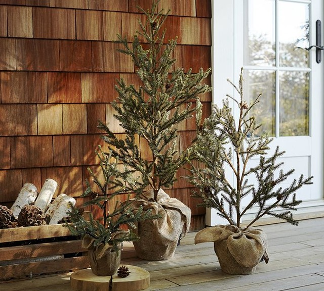 Pottery Barn Christmas Front Porch: Faux LED Lit Potted Pine Tree