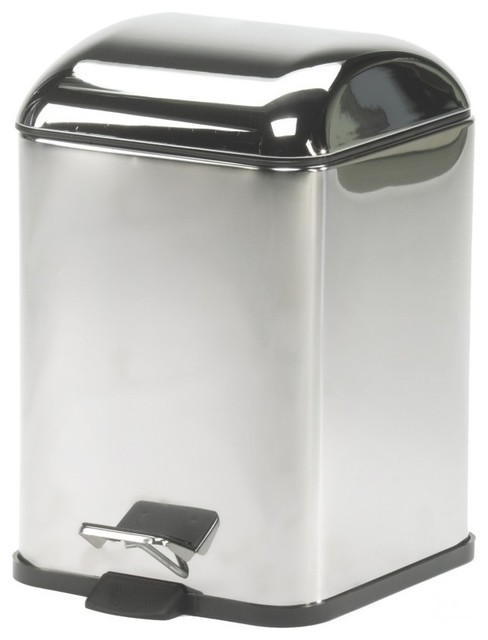 WS Bath Collections Karta 5363KK Leather Waste Basket in Chrome contemporary-bathroom-cabinets-and-shelves