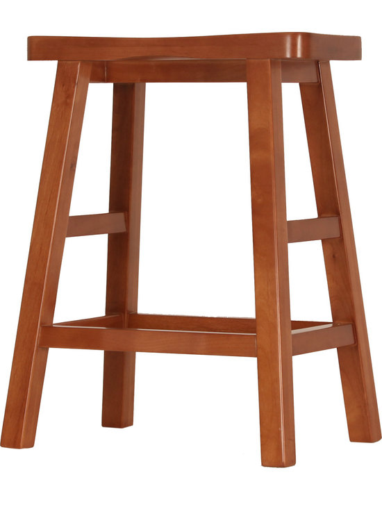 "Bar Stool, 24"" HIgh - This is a medium height bar stool intended to fit with a standard 36"" high counter top. It is hand made of solid wood. No screws are used in its' assembly. It is available in eight standard stains and seven wood species."