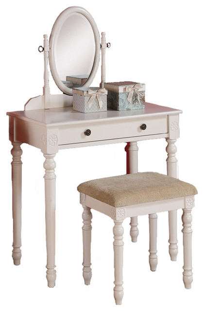 Delightful Mark Up Table Vanity Set Oval Swivel Mirror Bench Large Drawer Wh