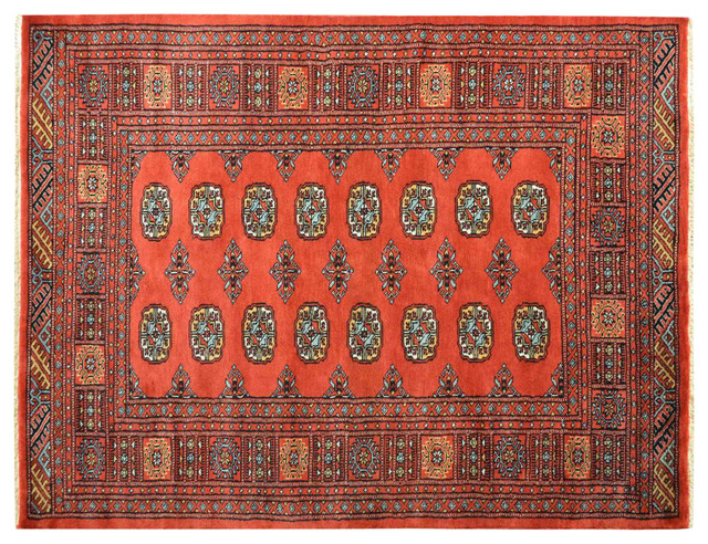 100% Wool Hand Knotted Red Turkoman Bokara Oriental Rug Sh15145 traditional-rugs