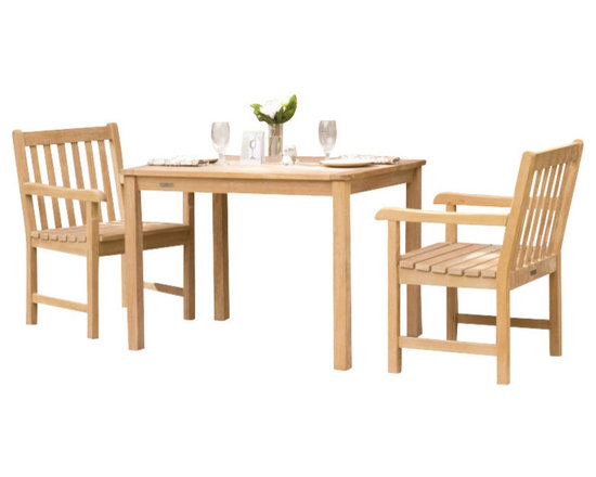 "Oxford Garden Hampton 32"" Shorea Dining Set - Enjoy the richness of teak without the pricetag.  Our Hampton 32"" Dining Set is made from Shorea wood which is a more prevelant wood than teak but exibits all the same qualities.  Because of it's availability, we are able to offer this dining set at a much more reasonable price.  Don't think you will be lacking in quality.  These pieces made by Oxford Garden are built to last.  Build your own set or purchase this set that we've put together for you.  Place it on a porch, deck or patio and start enjoying meal time outdoors!"
