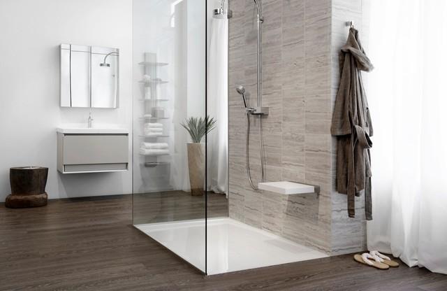 Glacier shower receptors modern showerheads and body sprays montreal by wetstyle - Universal bathroom design ...