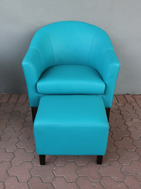 Club Chair Ottoman Turquoise Leather Eclectic Armchairs And Accent Ch