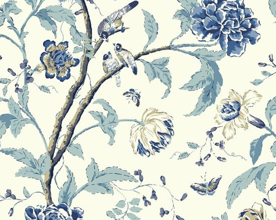Blue Highlited Teahouse Floral Vibe Wallpaper -