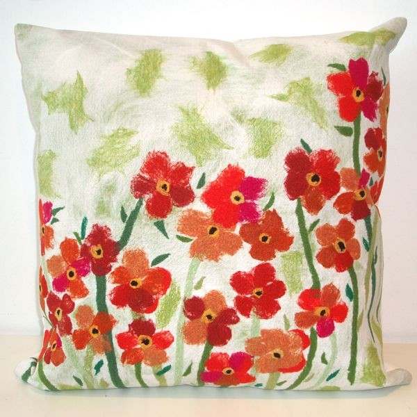 Poppies Red Outdoor Pillow  outdoor pillows