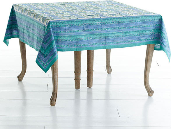 Woodblock Print Tablecloth - Floral traditional-tablecloths