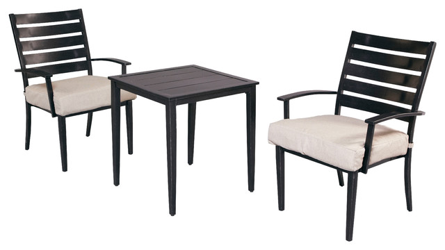 Marshall 3 Piece Patio Bistro Set with Textured Sand Cushions Eclectic au