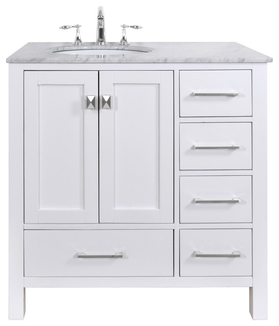 Malibu Pure White Single Sink 36 Inch Bathroom Vanity Transitional Bathroom Vanities And