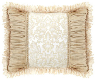 Dian Austin Couture Home Standard Sham with Crushed Silk Sides & Ribbon Loop Fri traditional-pillowcases-and-shams