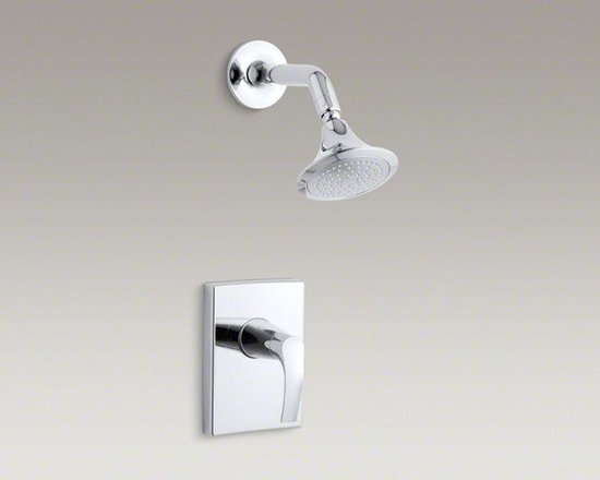 KOHLER Polished Chrome Symbol® Rite-temp® Pressure-balancing Shower Faucet Trim - Incorporating patterns and forms found in the natural world, Symbol faucets add beauty and balance to your bathroom. Featuring organic silhouettes, this Symbol shower trim comes with an easy-to-clean showerhead and lever handle. Pair this trim with a Rite-Temp® pressure-balancing valve, which maintains your desired water temperature during pressure fluctuations.