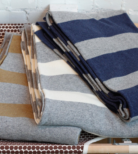 French Striped Blankets contemporary-throws