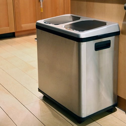 Itouchless 2 Compartment Recycle Touchless Trashcan 16 Gal