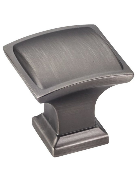 Jeffrey Alexander 435BNBDL Cabinet Knob - Annadale Series - Brushed Pewter Finis - This brushed pewter finish square cabinet knob with pillow design is a part of the Annadale Series from Jeffrey Alexander. A perfect blend of craftmanship in traditional and contemporary design to complement any decor.