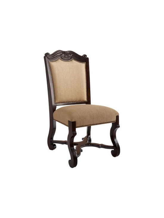 """Horchow - Twine Side Chair - Bring the look of regality to the dining area with stately furnishings crafted of cherry wood with an ash burl finish and silver tipping. Banquette and chairs have polyester seats and backs. Dining table, 60""""Dia. x 30""""T with leaves extending to 80""""Dia..."""