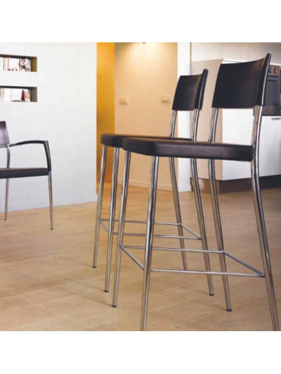 Airon Barstool - Barstool with chrome frame, upholstered seat. Top rail in solid wood. Curved seat.
