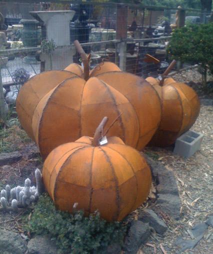 Metal Pumpkin Sculptures eclectic-garden-statues-and-yard-art