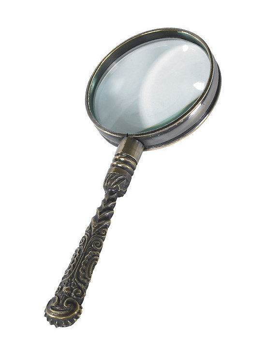 """Inviting Home - Rococo Magnifier (bronze) - solid brass magnifier in duo-tone bronze finish. 5x magnification; 5-3/8"""" x 2"""" Magnifier for proverbial fine print and thumbnail-sized road maps. Rococo magnifier is classic accessory for any coffee table or end table. This magnifier is made of solid brass and has duotone bronze finish. 5x magnification."""