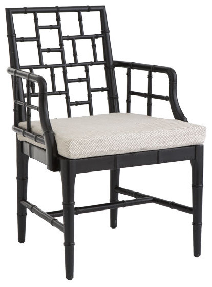 Chinese chippendale chair obsidian black asian for Meuble chippendale