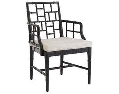 Chinese Chippendale Chair, Obsidian Black asian-armchairs