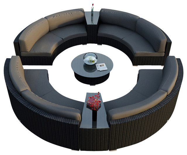Urbana Eclipse 7 Piece Round Sectional Set, Charcoal Cushions modern-patio-furniture-and-outdoor-furniture
