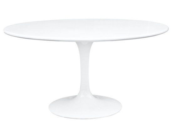 Fine Mod Imports - 60-Inch Round Molded White Fiberglass Table - This Tulip style table has a white molded fiberglass top, the base is a heavy molded cast aluminum, while the shell is in reinforced molded fiberglass.