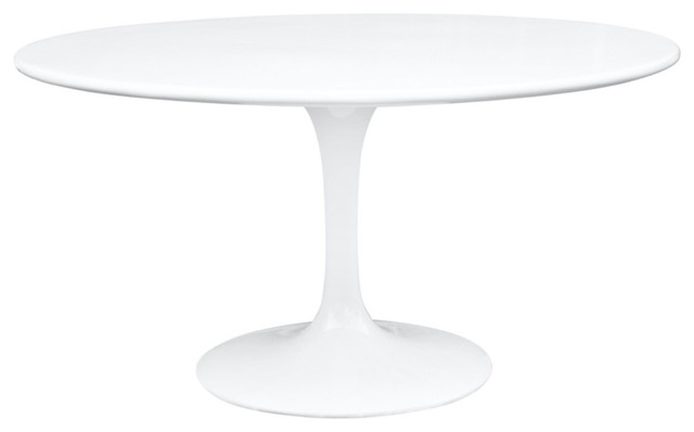 60 Round Molded White Fiberglass Table Midcentury Dining Tables