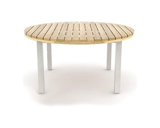 Jane Hamley Wells - Jane Hamley Wells | JAZZ Round Table - Designed by Kenkoon Studio for Jane Hamley Wells.Gather your best friends by the JAZZ Round Table. The superior-quality teak surface is designed to endure a long outdoor life.  The simple, sleek appearance of the JAZZ Round Table is meant to work with multiple architectural styles.