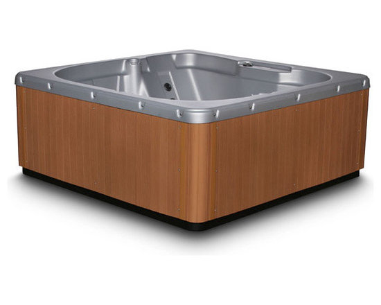 Tranquility Series ES15 Spa in Bright Silver w/ Light Teak - 6 Person Hot Tub - -Roomy enough for 5 - 6 people