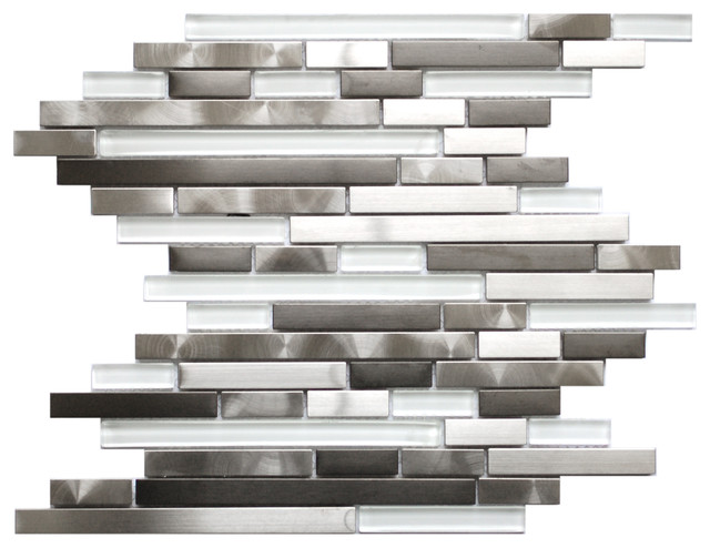 Modern Random Mix Steel - Glass II, Sample contemporary-tile