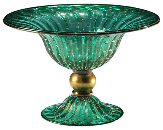 """Inviting Home - Venetian Glass Bowl (green and gold) - hand-blown green and gold round footed Venetian glass bowl 14-3/4"""" x 11""""H made in Murano Italy Hand-blown green and gold round Venetian glass bowl with bubbled pattern. Made in Murano Italy."""