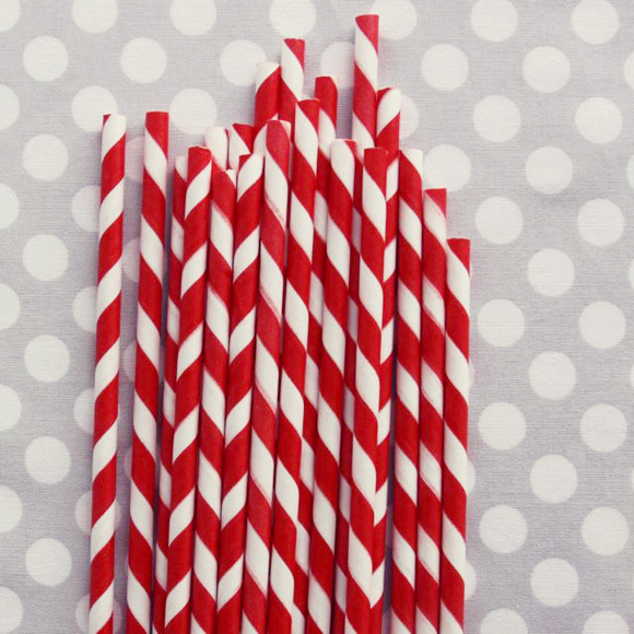 Striped Paper Straws: Red traditional
