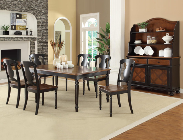Coaster 7 PC Country Tobacco Black Wood Dining Room Set Table Chairs Tradit