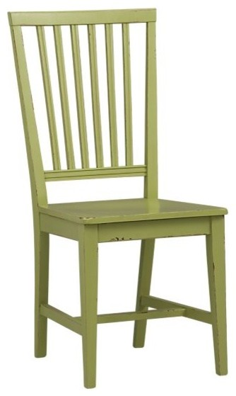 Village Foglie Green Side Chair and Stripe Cushion traditional-dining-chairs