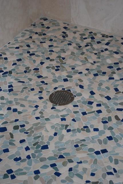 Sea Glass Blend pebble stone and glass tile tropical-home-decor