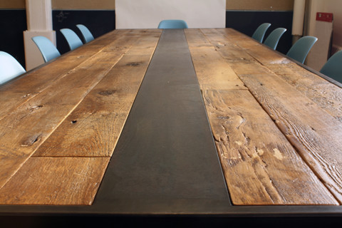 Reclaimed wood table modern dining tables new york for Wood modern dining table