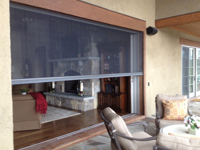 Sliding pocket doors opened to 12 39 lower the retractable for Pocket screens sliding doors
