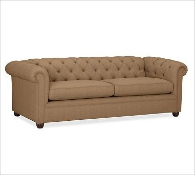 Chesterfield Upholstered Grand Sofa, Washed Grainsack Toffee traditional-sofas