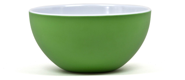 Victorian Round Bowl, Kelly Green/Arctic White contemporary-bowls
