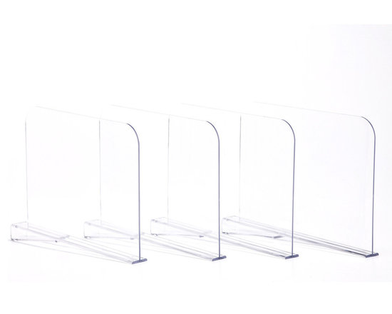 Clos-ette Too - Acrylic Shelf Dividers - Our genius shelf dividers allow you to organize your shelves in seconds. Simple and sleek in design, they slide easily onto any standard-size shelf and secure into place with a built-in clip. Ideal for separating folded clothing into neat stacks, corralling handbags and clutches, and creating cubbies for your large, bulky items. It's the ultimate closet accessory. Designed to fit 3/4-1 thick shelves. Made of 3/16 Acrylic. Clear finish allows for optimum viewing