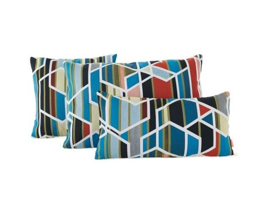 """Maharam - Maharam Pillow in Unique - """"We're in the narrative business,"""" says Michael Maharam, who runs the New York-based textile company with his brother Stephen. With Agency (2009) by Sarah Morris, Maharam explores the story of turning a work of art into design. Based on a painting that is included in the MoMA's permanent collection – and part of the artist's larger body of work entitled Los Angeles – Agency speaks to the urban, architectural landscape of iconic buildings that create the identity of Los Angeles. This fabric offers reduced environmental impact and is Greenguard Children and Schools certified for low chemical and particle emissions and may contribute to LEED certification."""