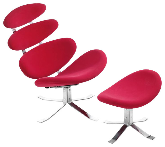 Zuo Petal Lounge Chair and Ottoman in Red modern-living-room-chairs