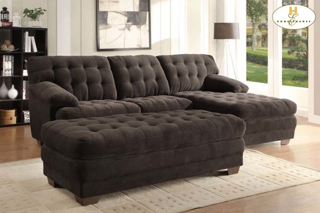 Homelegance modern brown tufted plush microfiber sectional for Brown microfiber chaise lounge