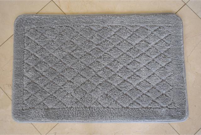 Solid Grey Memory Foam 20x32 Bath Rug contemporary-bath-mats